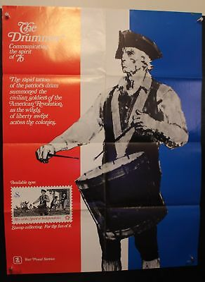 Vintage USPS Post Office Commemorative Poster 1973 8c Drummer and Soldiers