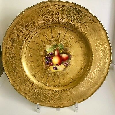 Beautiful Gilded Royal Worcester Signed Plate With Central Fruit Decoration
