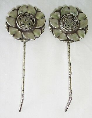 Pair Japanese 950 Sterling Silver Sunflower Salt & Pepper Shakers by Kuyeda (Lon
