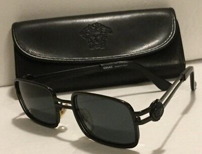 Vintage VERSACE Sunglasses Mod. S53 Col. 028 Black Metal Made in Italy w/Case