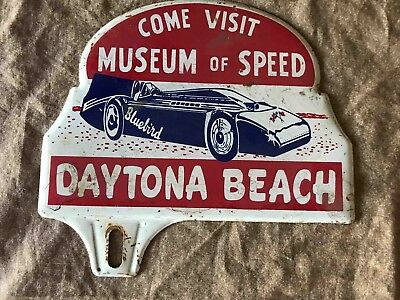 Vintage Come Visit Museum of Speed Daytona Beach Florida License Plate Topper