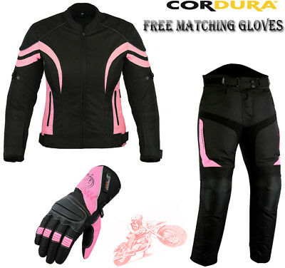 Ladies Pink Speed Maxx Womens Slim Fit Motorbike Motorcycle Jacket Trousers Suit