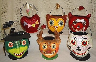 Dept 56 Paper Mache Candy Bucket Valentine Halloween Christmas Containers Lot/ 6