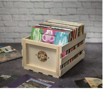 Wood Record Storage Crate Natural Crosley Rustic Vinyl Media Album Bin Organizer