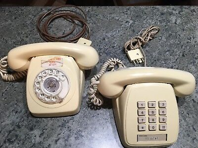 2x Vintage Table Desk Phones Telephones (Telecom Push Button STC & Rotary Dial)