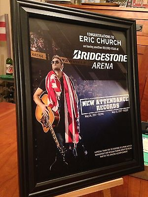 "BIG 10x13 FRAMED ERIC CHURCH ""LIVE IN NASHVILLE 2017"" TOUR LP ALBUM CD PROMO AD"