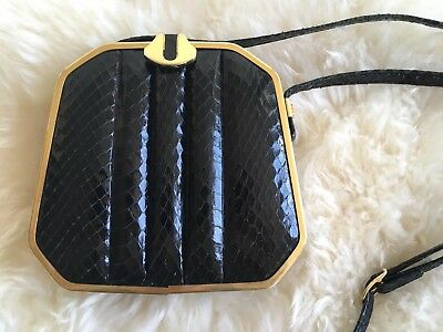 Vintage Black Genuine Snake Budd Leather Clutch Purse Bag made in Spain