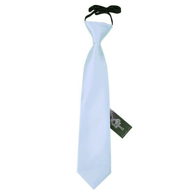 Boys Elasticated Tie Satin Solid Plain Baby Blue Formal Wedding Pre-Tied by DQT