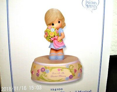 "Precious Moments ""Love is the Greatest Blessing"" Musical Figurine #124100 NIB"