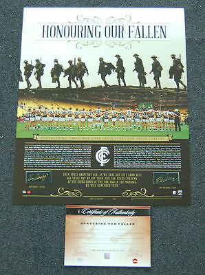 Carlton Blues Hand Signed Murphy Malthouse Anzac Day Honouring Our Fallen Print