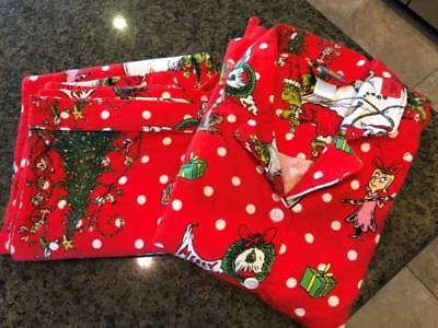 Dr, Seuss Pottery Barn Teen GRINCH Pajamas Flannel New LARGE FREE SHIPPING