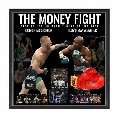 The Money Fight Conor Mcgregor & Floyd Mayweather Hand Signed Framed Gloves
