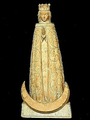 Spanish Colonial Antique wood Santos statue Mary of God Praying for Us w/ moon