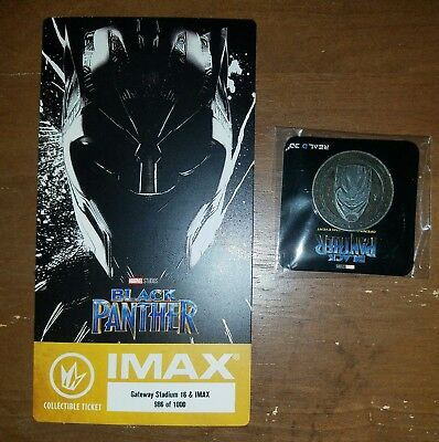 Black Panther Regal IMAX Collectible Movie Ticket plus collectible coin.
