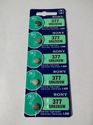 5 Pack Sony 377 SR626SW LR66 AG4 376 LR626 1.5V Silver Oxide Battery Watch