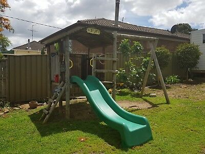 Cubby House with slide and swing