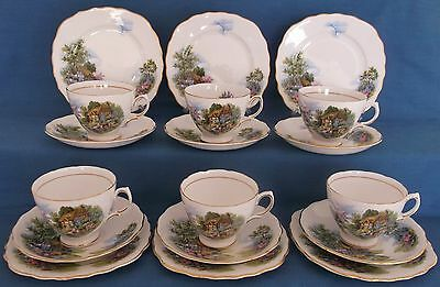 Vintage Royal Vale 18 Pc English Country Cottage Garden Hollyhocks China Tea Set