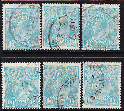 AUSTRALIA KGV 1/4d SELECTION OF SHADES SMWMK P 13 1/2 X 12 1/2  USED