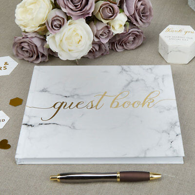NEW Wedding Special Occasion Guest Book in Presentation Box Marble Effect