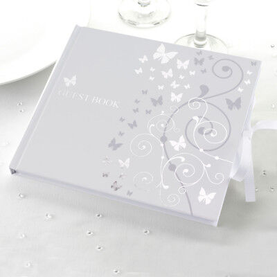 Wedding Special Occasion Guest Book Presentation Box White Silver Butterflies