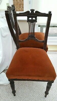 set of 2 edwardian mahogany dining chairs