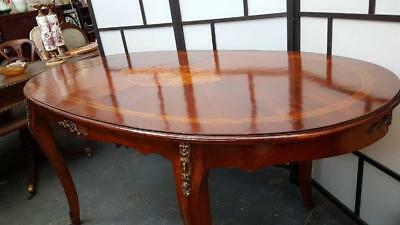 Antique French Dining Table On Cabriole Legs With Marquetry Inlay &ormolu Mounts