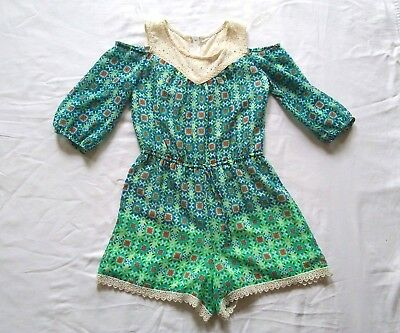 SPEECHLESS Girls 10 - Teal Green - Lace Cold Shoulder Romper - Turquoise Royal