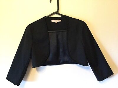 Women's Size 12 Review Black Cropped Bolero Jacket 3/4 Sleeves Fully Lined BNWOT