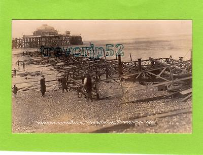Wreck of Pier Worthing 1913 unused RP pc  Ref B845