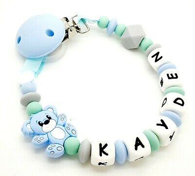 Personalised Baby Dummy Soother Silicone Clip Holder Strap Shower Christening