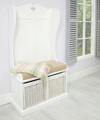 White Monk Seat Bench Hallway Bedroom Storage Baskets Ottoman Chest Cushion Seat