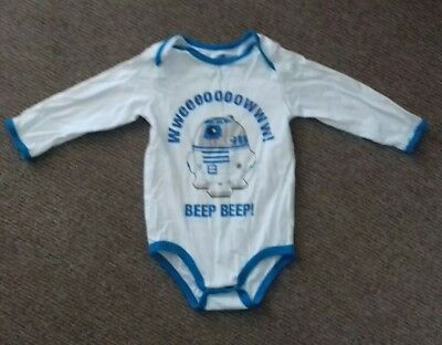 DISNEYLAND PARIS star wars R2D2 baby grow/vest sleep suit 12 months blue white