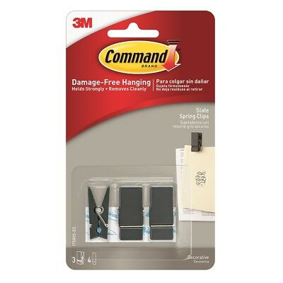 3M Command Slate Spring Clip Small 3pk (17089S-ES) 3 Slate Pegs, 4 Small Strips