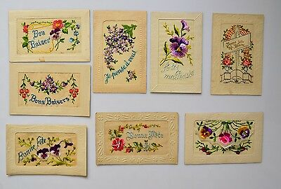 Set of 8 Belles CPA Embroidered - circa 1900