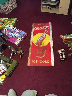 Rare Coca Cola Sign 1940 Yellow Dot Sign With Five Cent Painted On Sign