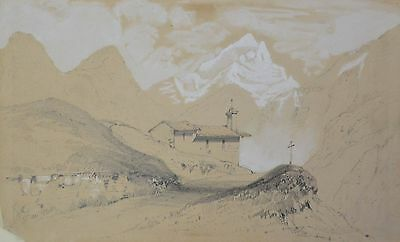 Lovely Drawing 19th - Chapelle Dans Les Alps - circa 1850