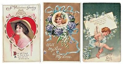 Lot of 3 Vintage Valentine Postcards 1 Clapsaddle 2 Germany Embossed Early 1900s