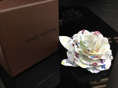 Auth Louis Vuitton Monogram Multicolor Camellia Brooch Corsage Flower 7K290900S