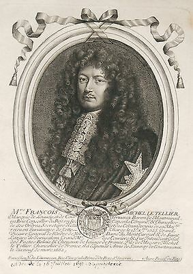 Original engraving 18th - Of Larmessin - My lord François Michel the Tellier