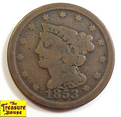 1853-P Braided Hair Liberty Head HALF CENT 1/2c 100% Copper Coin LOW MINTAGE NR!