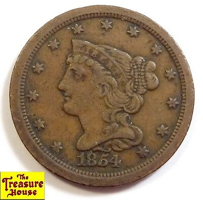1854-P Braided Hair Liberty Head HALF CENT 1/2c 100% Copper Coin LOW MINTAGE NR!