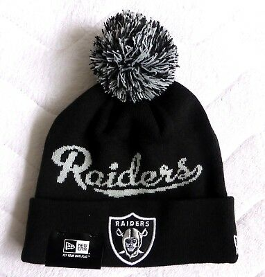 OAKLAND RAIDERS New Era American Football Cuff BLACK Bobble Beanie Toque Hat NFL