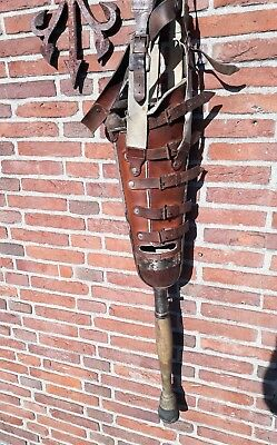 RARE antique leather,metal,wooden leg,medical prosthetic leg,artificial limb