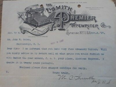 1897 Syracuse, N.Y. The Smith Premier Typewriter Co.  SIGNED M.C. Smith