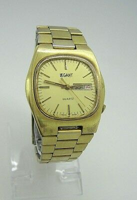 Unique Vintage LeGant Men's Swiss Made Quartz Watch Day Date Gold Tone