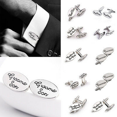 WEDDING CUFFLINKS Groom Best man SILVER OVAL mens cuff link usher ...