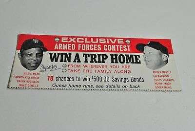 VINTAGE ARMED FORCES BASEBALL CONTEST ADVERTISING willy mays