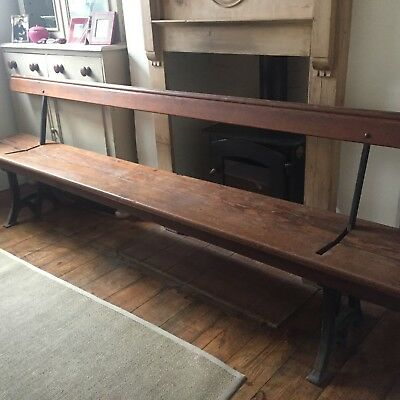 Antique Church  Pew / Bench -Very  Rare- Cast Iron Switchback - Victorian