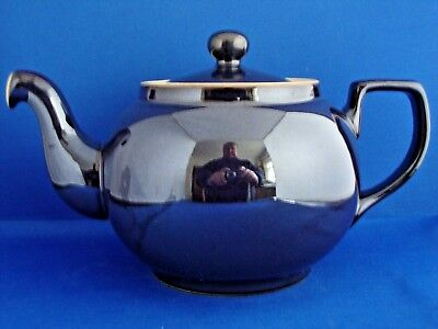 Denby Historic Classic Lustre Blue/Purple 1922 Shape 2 1/2 Pint Teapot 2nd Qual