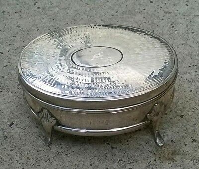 Antique solid silver jewellery /trinket box Chester 1907